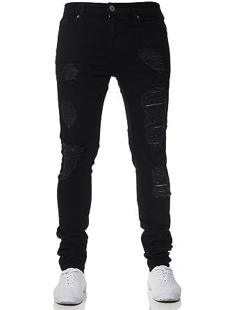 71715dc61 Enzo New Mens Super Stretch Skinny Jeans Ripped Distressed Designer Black  28 W X 30 S