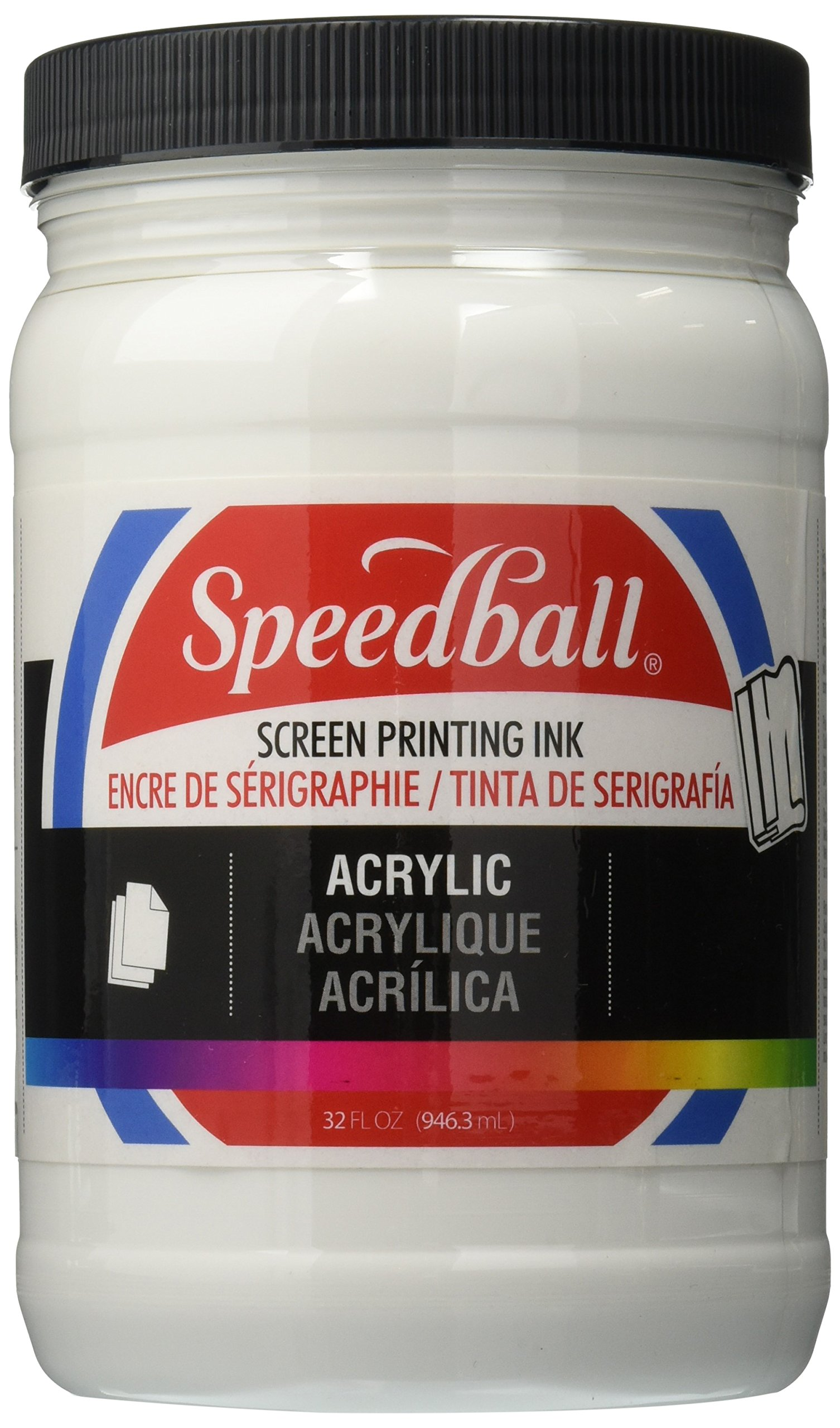 Speedball 4640 Acrylic Screen Printing Ink, 32 oz. Jar, 3.63'' Height, 3.63'' Width, 6.13'' Length, White by Speedball