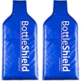 2 Pack Reusable Wine Protector Travel Bag by Bottle Shield - Bubble Cushioning Wrap Suit - Unbreakable Bottle Sleeve, Leak Proof - Wine Tote Bags Accessory for Suitcase Luggage