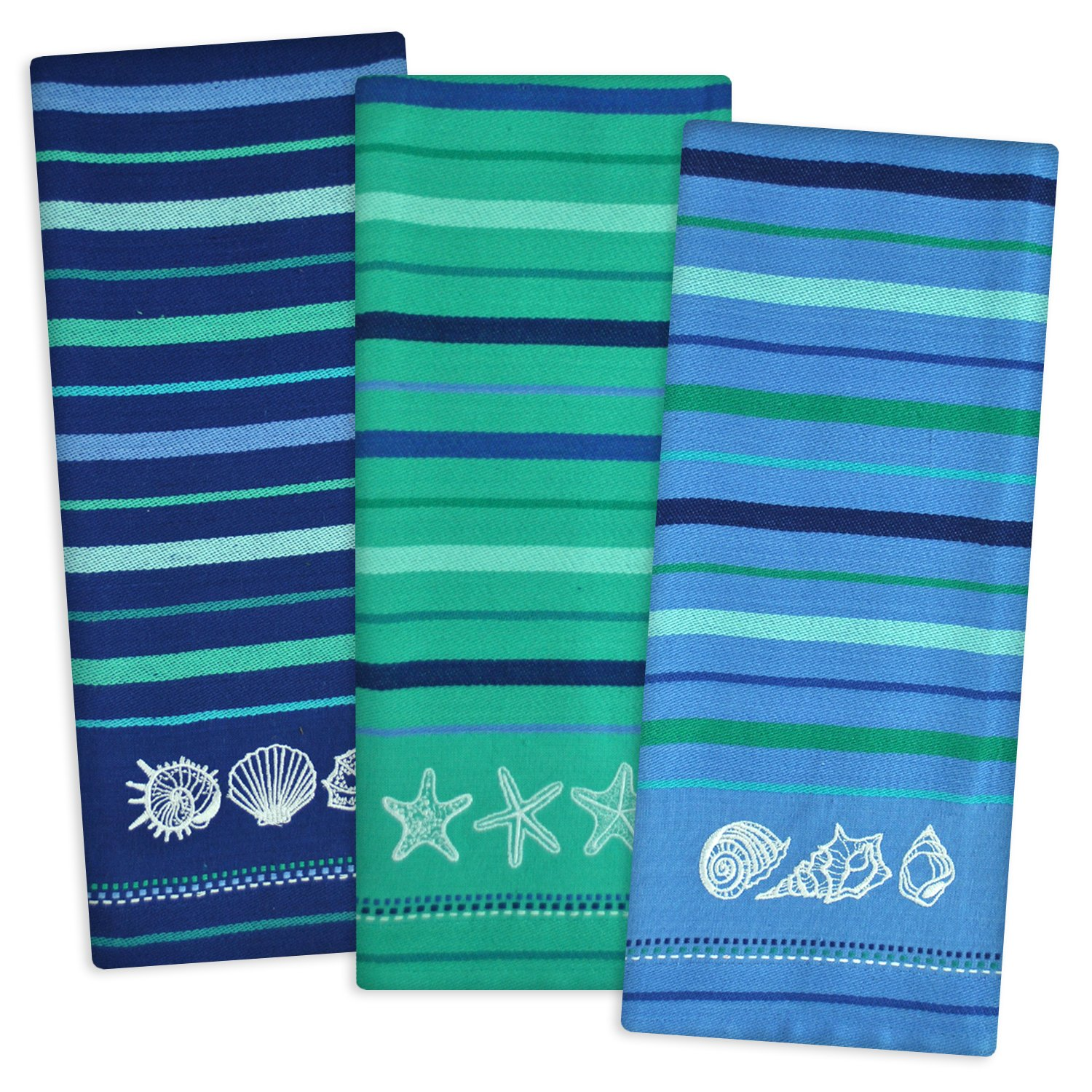 DII Cotton Embroidered Blue Sea Dish Towels, 18 x 28'' Set of 3, Decorative Oversized Kitchen Towels for Everyday Cooking and Baking