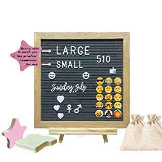 374 Pieces Alphabets Numbers /& Symbols Changeable Felt Letter Board Sign Set Black-10x10 Inches Oak Frame and Canvas Bag- Display Personalized Messages Creatively- Asterlia Decor Wood Stand Easel