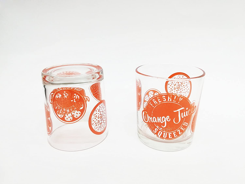 takestop Set 6/table Pieces Glasses Orange Orange Juicer in Stripes Glass Dishwasher Safe Made Italy