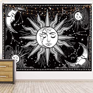 HOTMIR Wall Tapestry - Black and White Tapestry Wall Hanging Mystic Tapestry as Wall Art and Room Decor for Bedroom, Living Room, Dorm (59.1x82.7 Inches, 150x210 cm)
