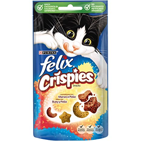 Purina Felix Party Mix Crispies Snacks, golosinas y chuches para gato Buey y Pollo 8