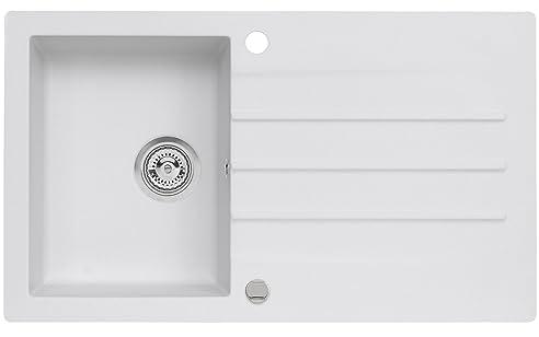 Axis Kitchen Mojito 100 Küchenspüle Farbe Axis Weiss Material Axigranit  50er Unterschrank Spülbecken Siphon, Exzenterbedienung