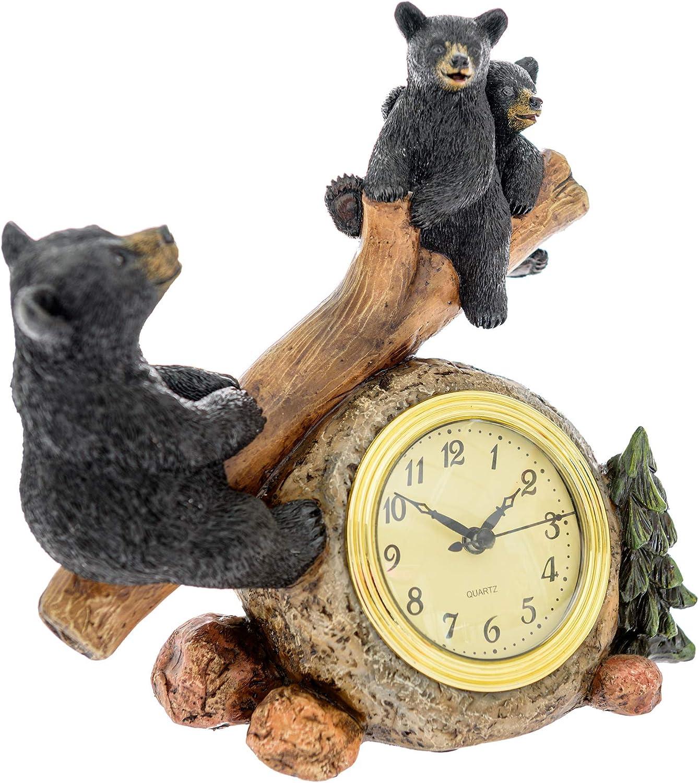 Pine Ridge Black Bear Clocks for Home - Decorative Clock Wildlife Decorations for Home Rustic Cabin Clock - Bears Home Decor Animal Clock Hunting - Bear Wildlife Home Decorations Whimsical Clock