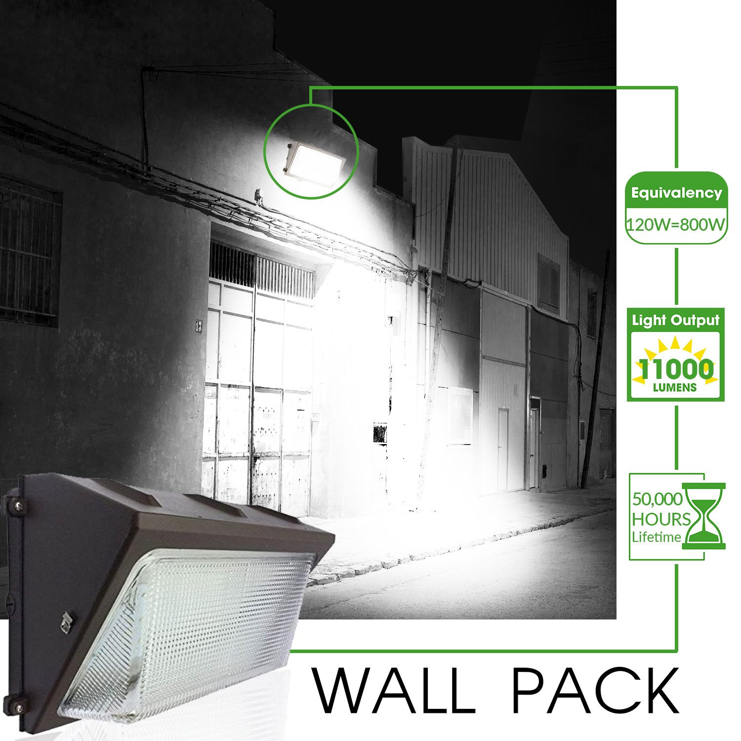 Ul Dlc Listed Led 120w Wall Pack Outdoor Lighting 5000k Cool Ambient Light Controlled Circuit 50 Watt Lamp Wiring White 11 000 Lumen 800 Equivalency Replacement Life Hours Highest Quality