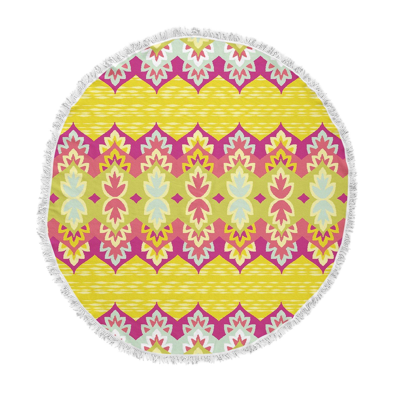 Kess InHouse Amanda Lane Bohemia Yellow Pink Round Beach Towel Blanket