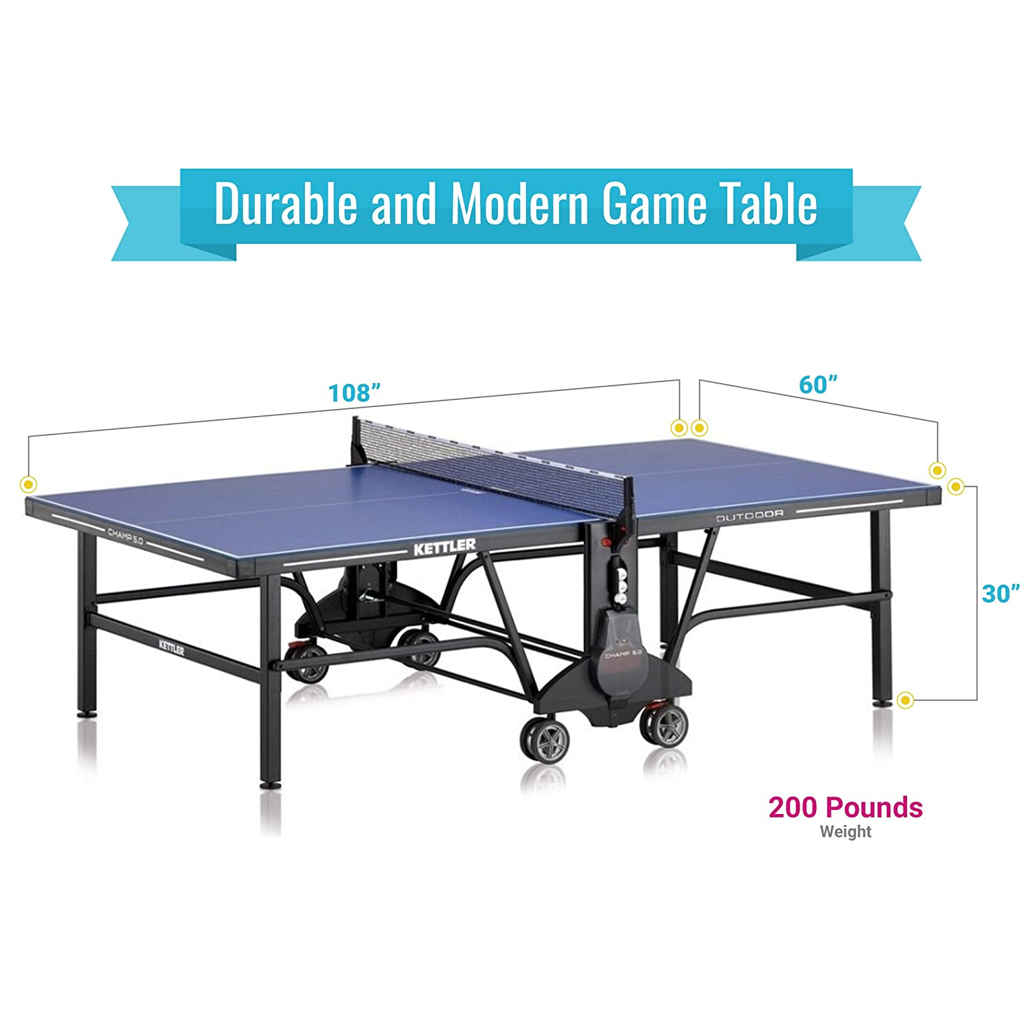 ba7efbeb9 Amazon.com   Kettler Champ 5.0 Outdoor Table Tennis Table with Outdoor  Accessory Bundle   Sports   Outdoors