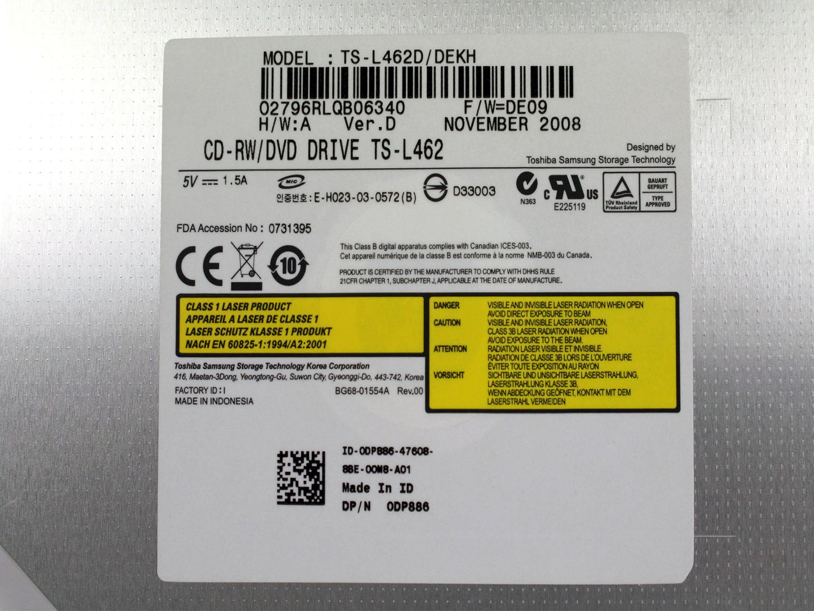 Dell CD-RW/DVD Drive Black TS-L462D/DEXH YX428 Inspiron 1521 by Dell (Image #5)