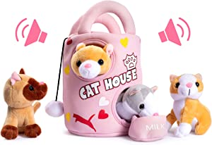 Plush Creations Plush Cat Toys For Kids Includes A Plush Cat House Carrier With 4 Soft Stuffed Talking & Meowing Plush Kittens And A Cat Plush Milk Bowl Best Interactive Cat Toy For Babies Or Toddlers