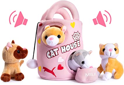 Plush Creations Plush Cat House Carrier with 4 Soft and