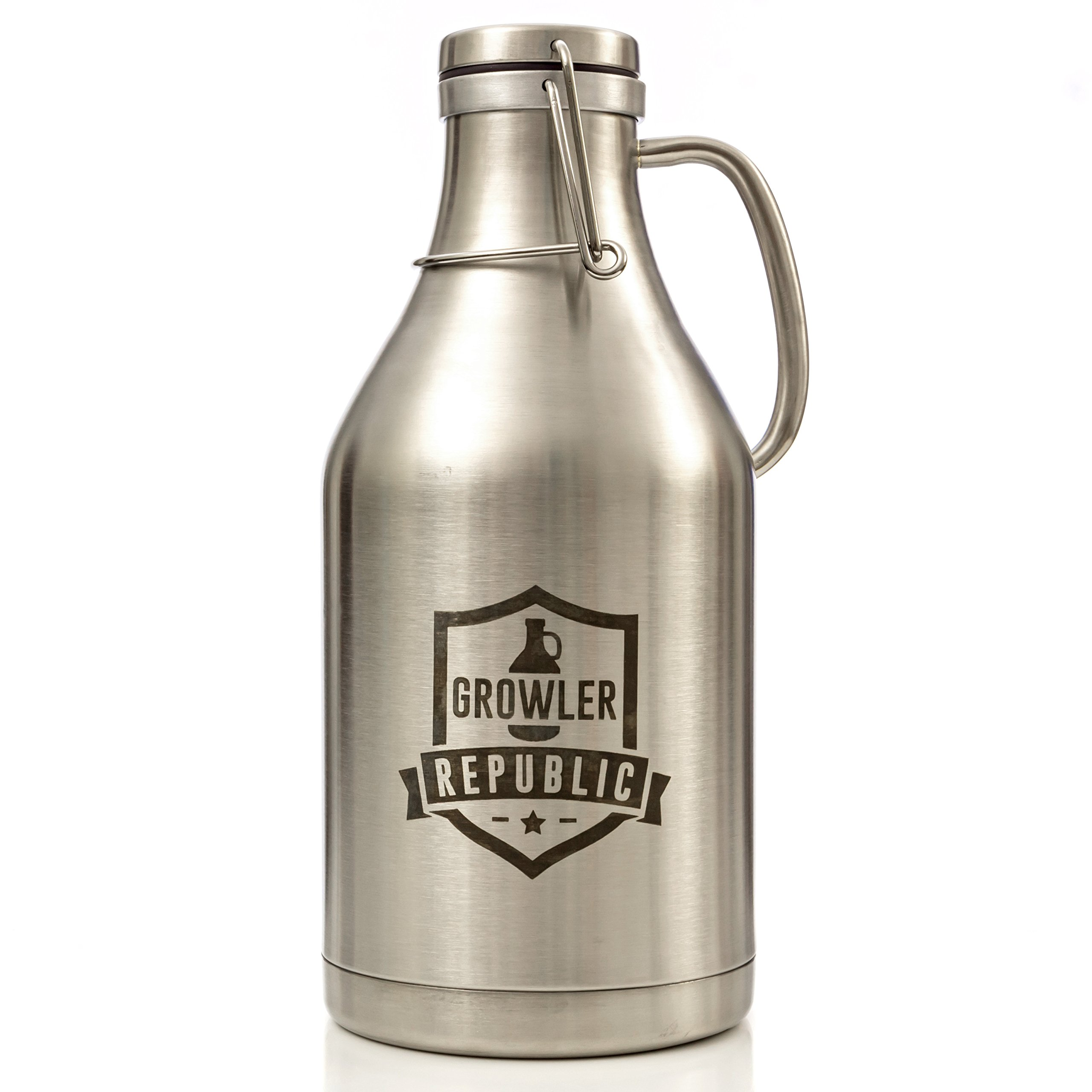 The Flagon - Stainless Steel Beer Growler With Handle & Swing Top 64oz Double Wall Insulated