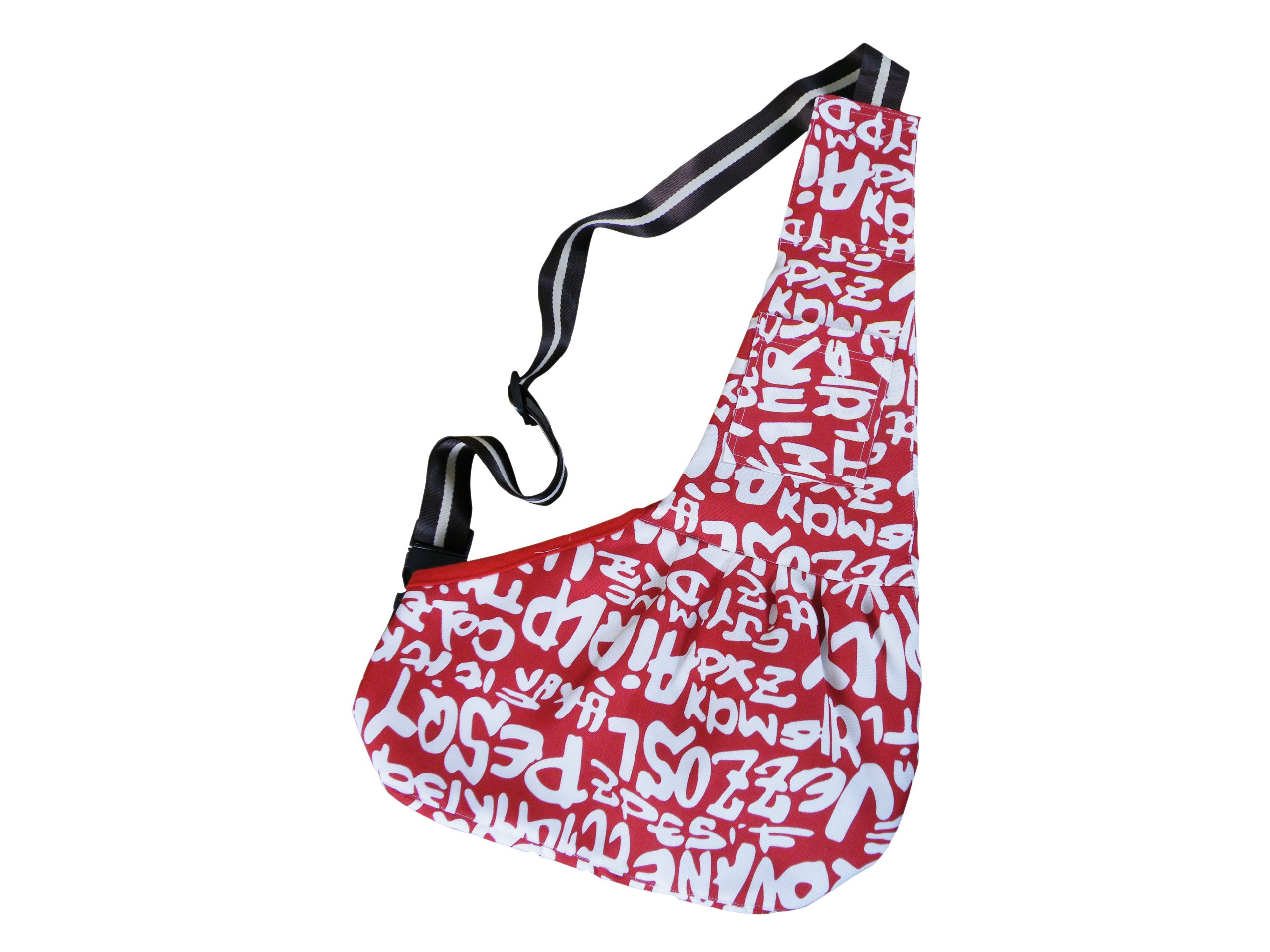 Evergreens Red Pet Sling Carrier Bag With Letter Print (S)