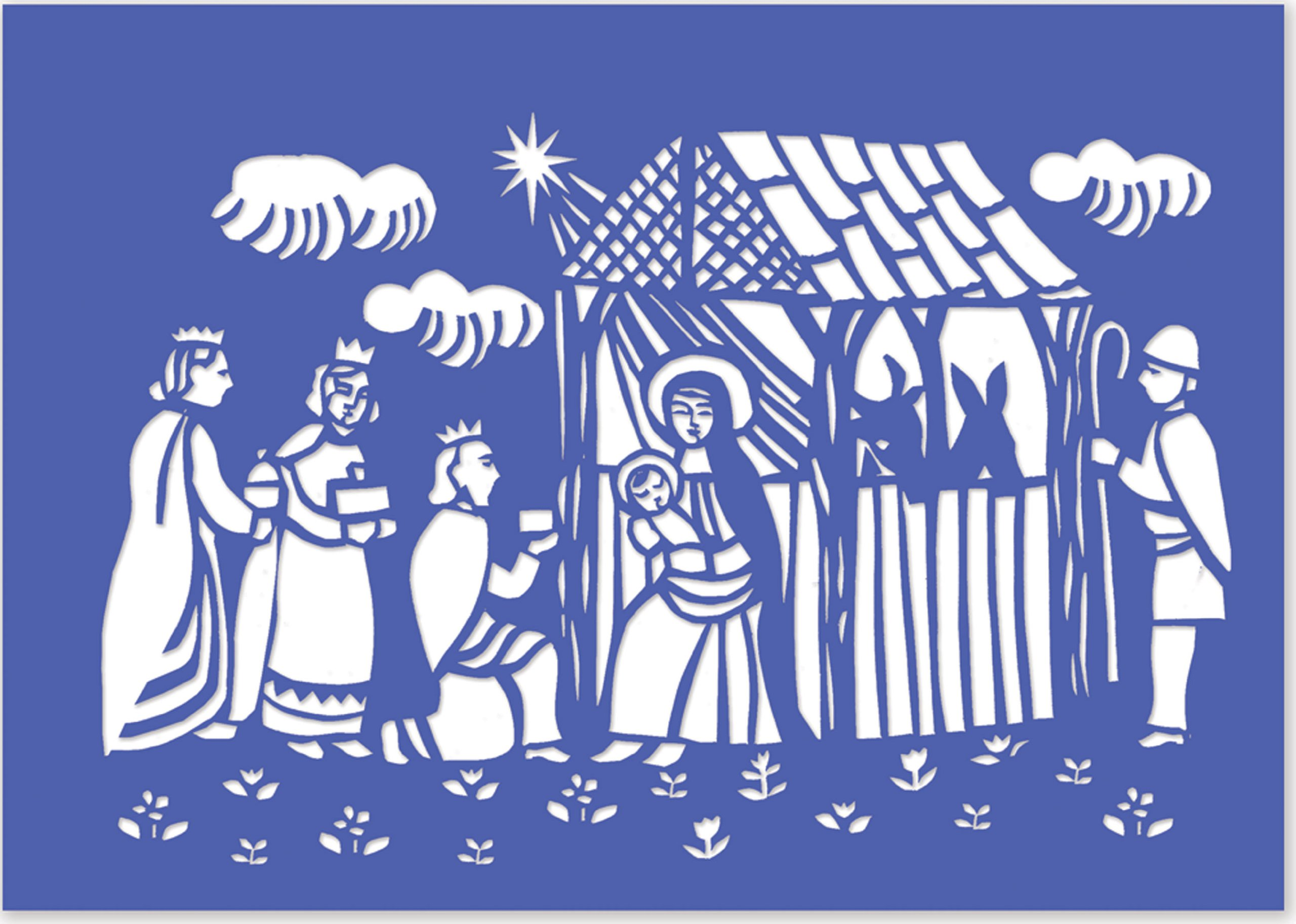 Woodcut Manger Laser Cut Boxed Cards Christmas Cards Greeting
