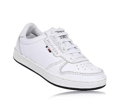 72352c05120ef1 TOMMY HILFIGER - Chaussure à lacets blanche en cuir, languette en tissu,  lacets élastiques