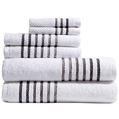 Caro Home Maggie 6 Piece Bath Towel Set - 2 Bath Towels 2 Hand Towels 2 Face Towels - 100% Combed Cotton Premium Quality Solid Color, Thick and Heavy Weight Plush Absorbent 550 GSM