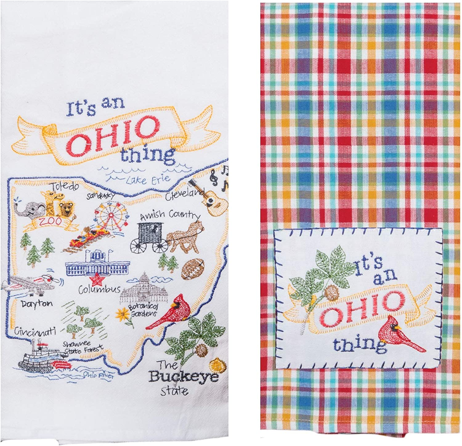 2 Piece Kay Dee Home State of Ohio Embroidered Kitchen Towel Bundle