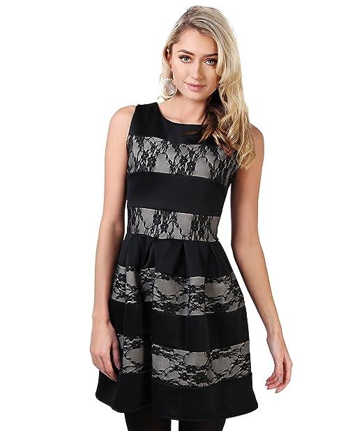 Vestido Fiesta Corto Encaje[Negro,S]