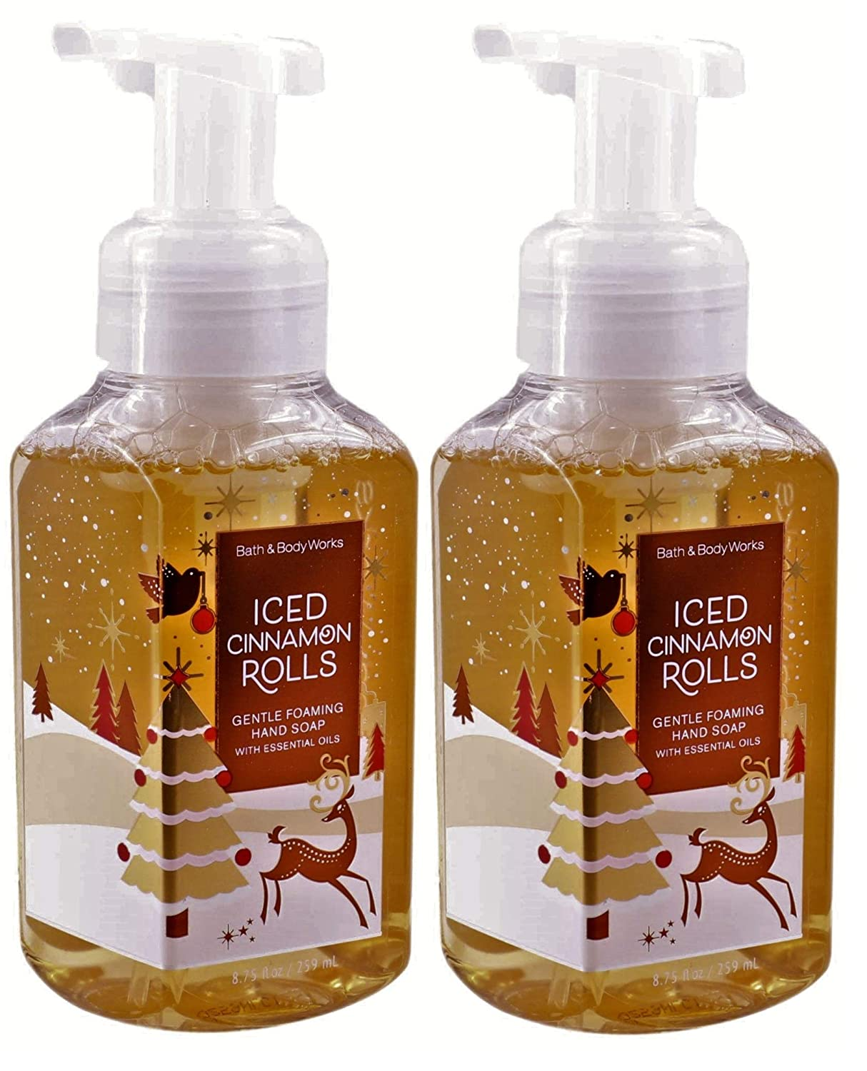 White Barn Bath and Body Works Iced Cinnamon Rolls 8.75 ounce (2 Pack) Gentle Foaming Hand Soap