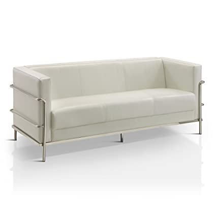 Furniture Of America Sonica Contemporary Tuxedo Style Leatherette Sofa White