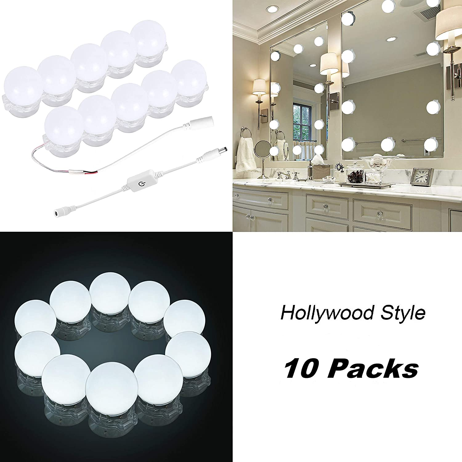 Lightess 9W Bathroom Mirror Light Modern LED Bathroom Wall Light Cool White IP44 Make-up Mirror Front Lighting Picture Light with Switch Adjustable Angle Chrome Finished Bathroom Accessories,Cool White