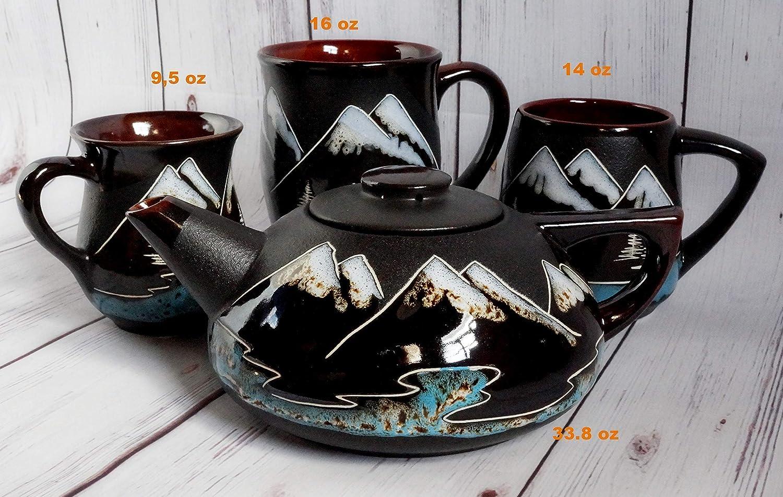 Birthday gifts for him men husband Mountain ceramic coffee mug 14oz Large handmade pottery tea cup