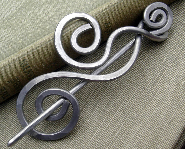 Dancing Swirls Shawl Pin, Aluminum Sweater Brooch, Scarf Pin Handmade in Oregon, Knitters Gift