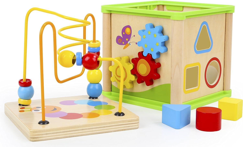 Centre activit/é b/éb/é multijeux Montessori Triangle activit/é en bois Cadeau enfants 5 en 1 Alphabet Boulier Apprendre chiffre interactif Jouet b/éb/é 1 an labyrinthe Horloge