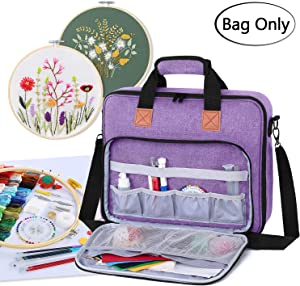 Luxja Embroidery Project Bag, Embroidery Kits Storage Bag (Bag Only), Purple