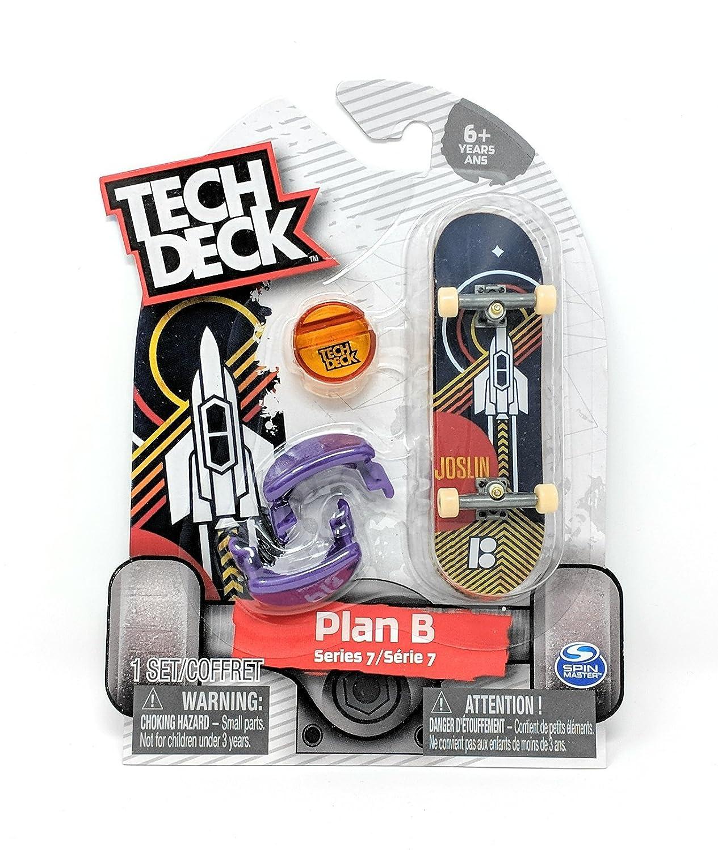 Tech Deck PLAN B Skateboards Series 7 Joslin Spaceship Rocket Fingerboard Starter Board with Trainer Clips