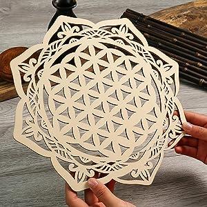 "Simurg 11.5"" Wood Mandala Wall Art Wood Mandala Wall Decor Crystal Grid Board Sacred Geometry Wooden Circle Wall Decor Geometric Crystal Grids"
