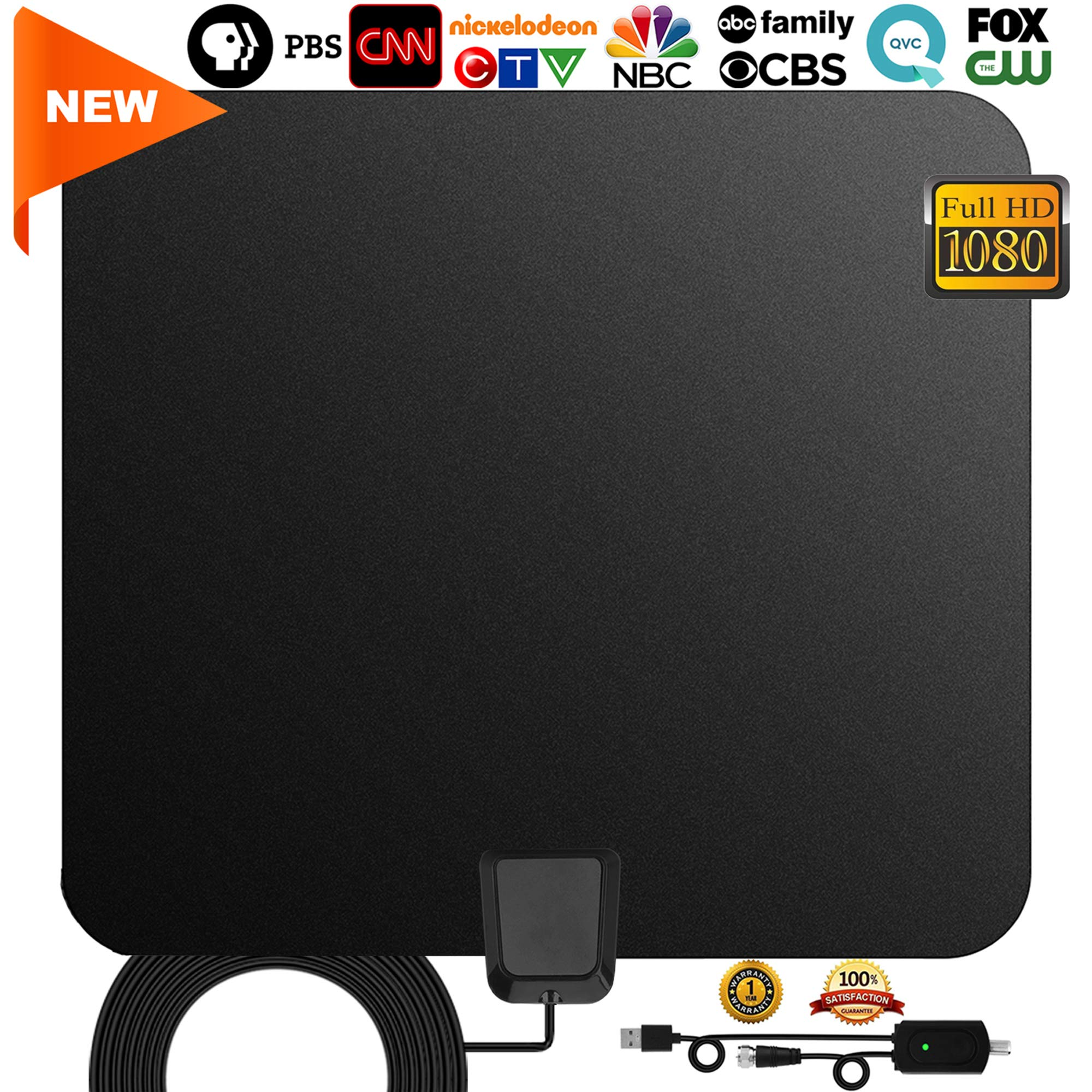 TV antenna,[2019 Newest] Indoor Digital HDTV Amplified Television Antennae Freeview 4K 1080P HD VHF UHF for Local Channels 60~120 Miles Range With Signal amplifier Support ALL TV's-13.3ft Coax Cable by GreenYellow