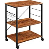 Mr IRONSTONE Kitchen Microwave Cart 3-Tier Kitchen Utility Cart Vintage Rolling Bakers Rack with 10 Hooks for Living Room Dec
