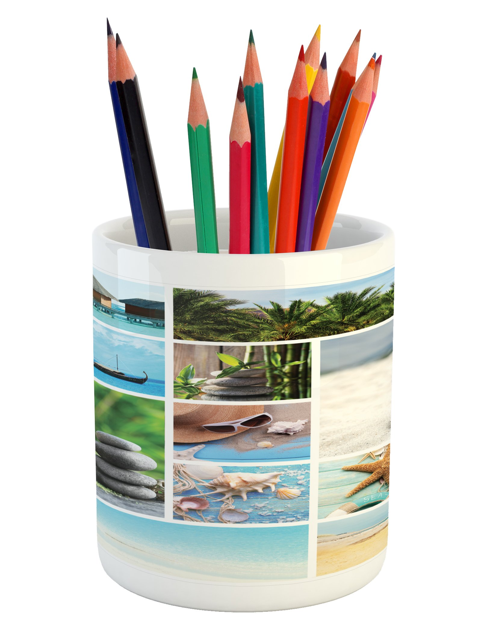 Ambesonne Spa Pencil Pen Holder, Collage of Spa Composition with Tropical Sandy Beach Ocean Rock Views Relax Rest Image, Printed Ceramic Pencil Pen Holder for Desk Office Accessory, Multicolor