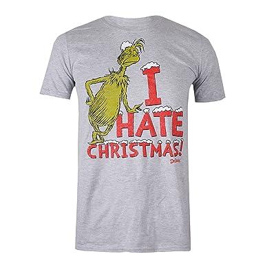 The Grinch - Dr Seuss Herren T-Shirt Vintage Hate, Grey (Grey Marl