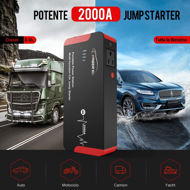 LED Taschenlampe 22000mAh Starthilfe Powerbank 100W Tragbare Power Station mit AC Ausgang YABER Auto Starthilfe 2000A F/ür Alle Benzin oder 8L Dieselmotor
