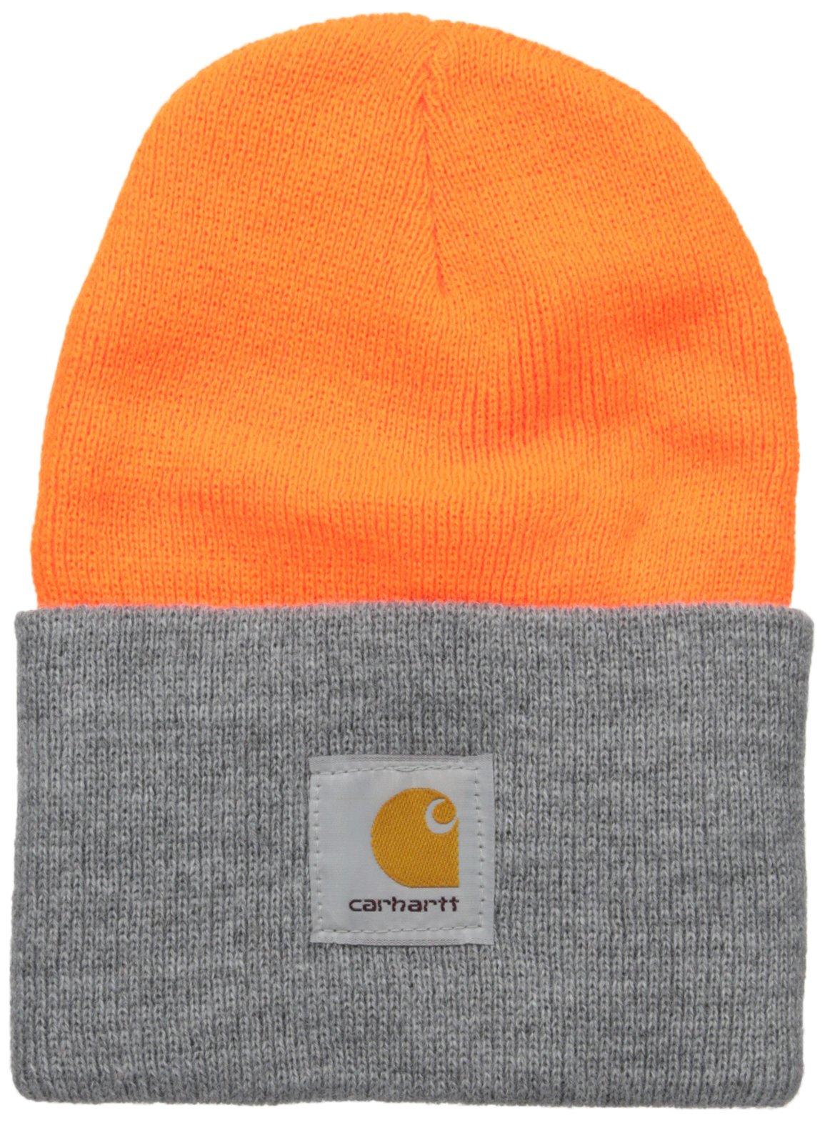 Carhartt Men's Acrylic Watch Hat A18, Brite Orange/Heather Grey, One Size by Carhartt