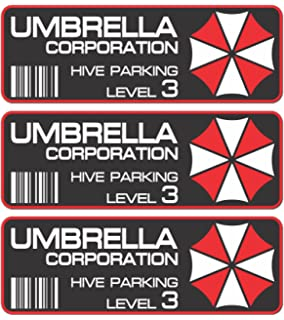 3stk Umbrella Corporation Hive Parking Pegatinas 10 cm JDM Auto Bike Car