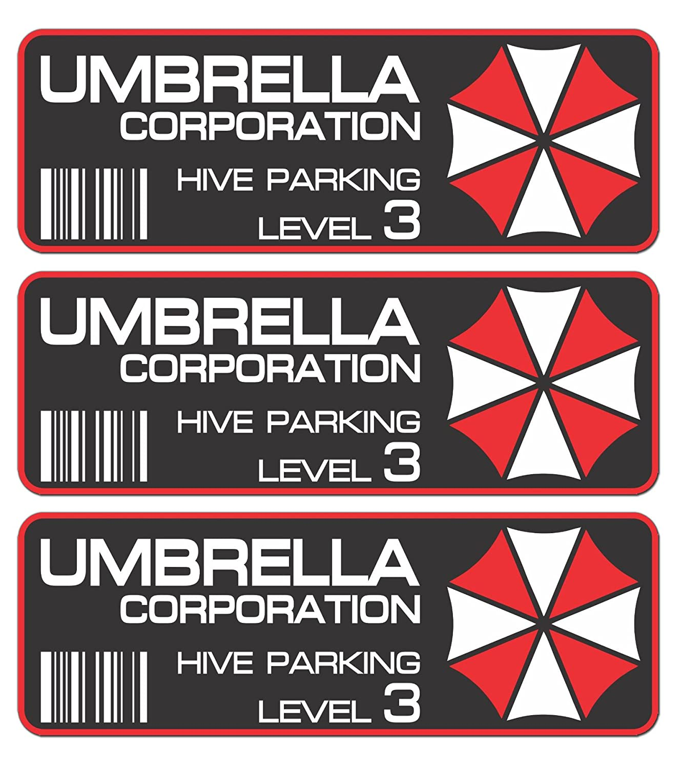 STICKERZZZ!!! 3stk Umbrella Corporation Hive Parking Pegatinas 10  cm JDM Auto Bike Car Resident Evil.