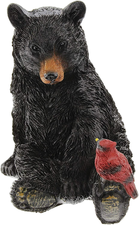 The Bridge Collection Black Bear and Cardinal Friend Figurine