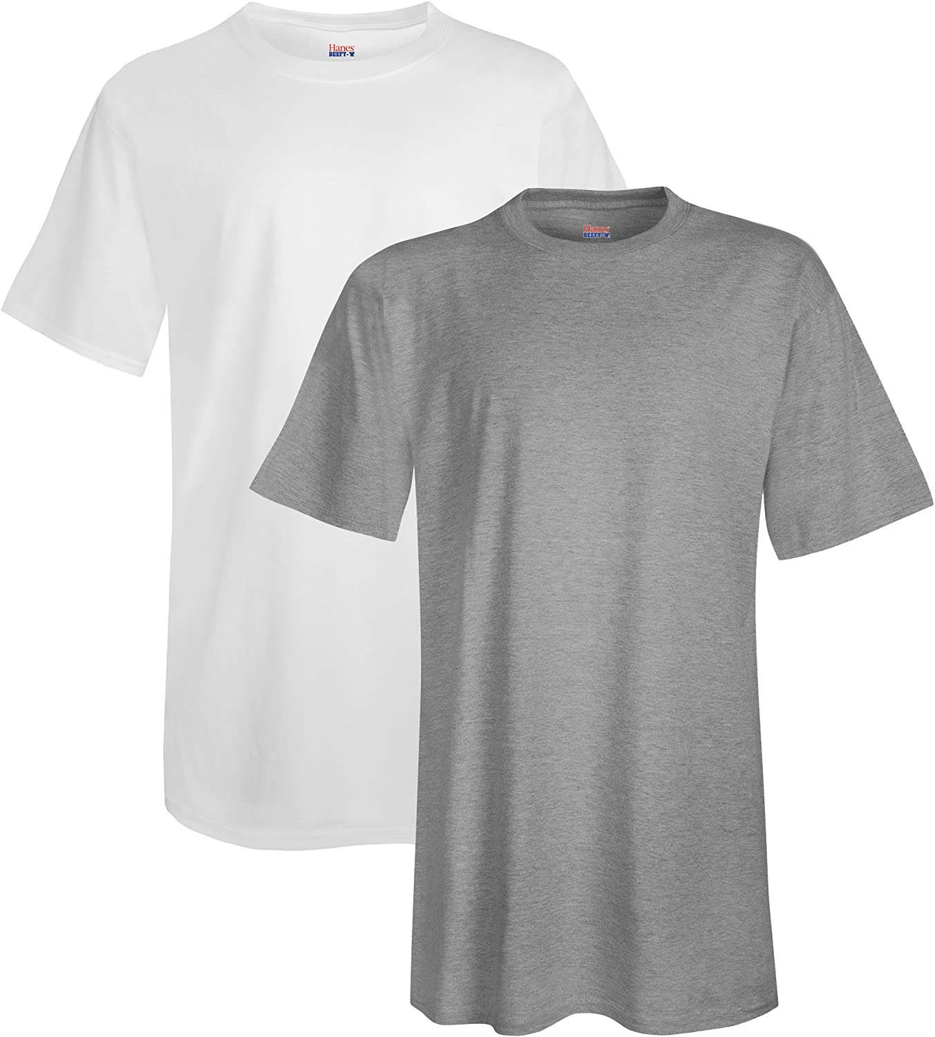 Hanes Men's Tall Short Sleeve Beefy-T (Pack of 2), 4XLT, 1 Light Steel / 1 White