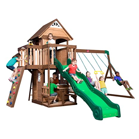 Amazon Com Step2 Backyard Discovery Hillbrook Wood Swing Set Two
