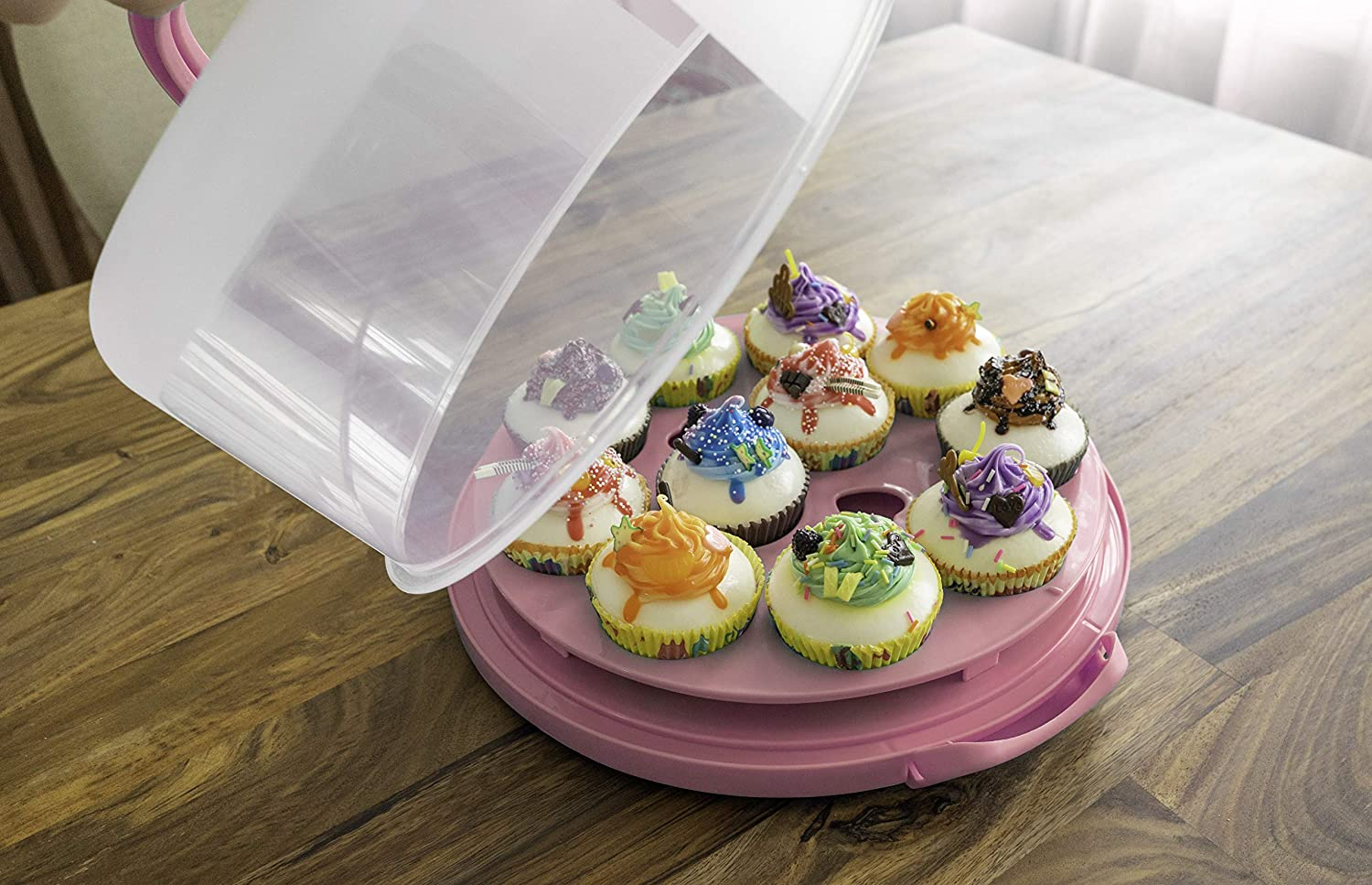 BPA free Cake and Cupcake Muffin Carrier Holder with Collapsible handles