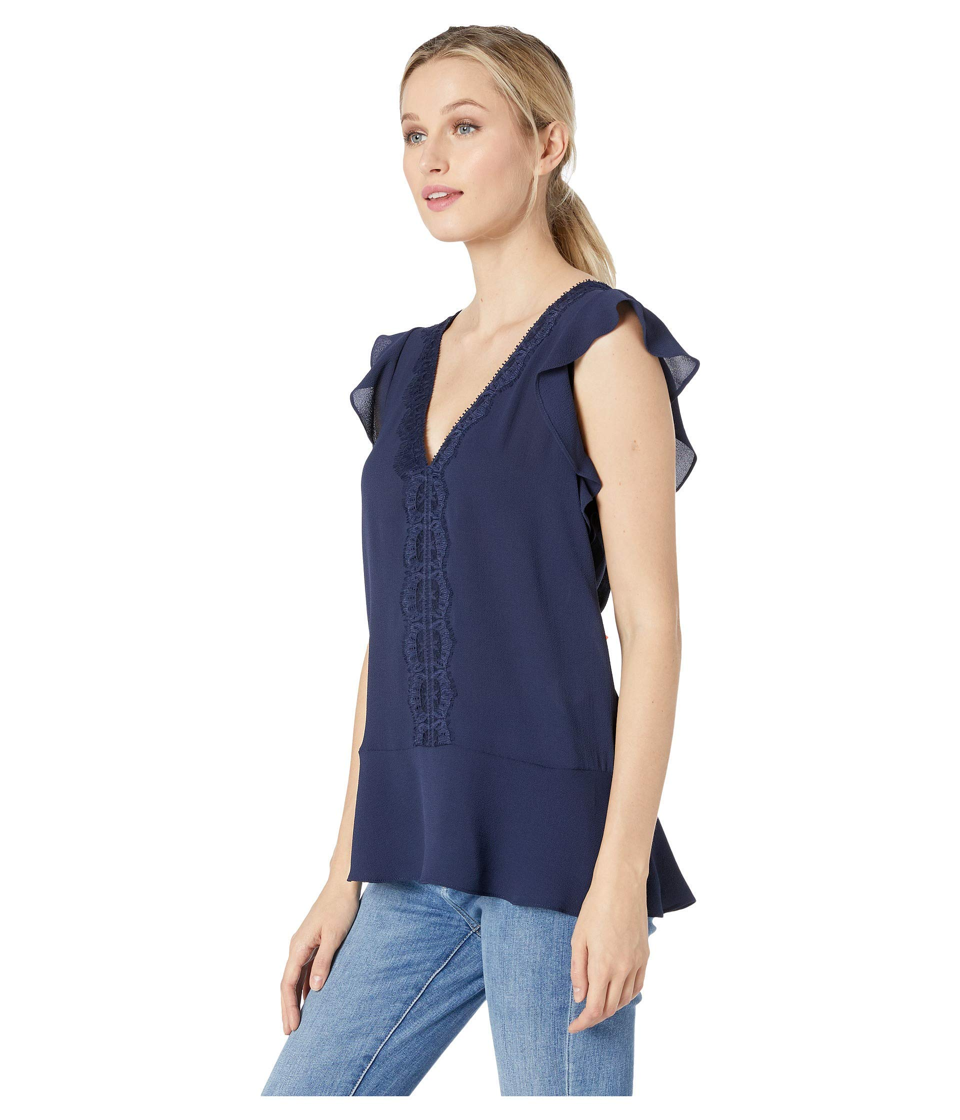 Blooming Jelly Womens Chiffon Lace Top V Neck Tops Ruffle Sleeve T Shirt Tee Shirts Blue