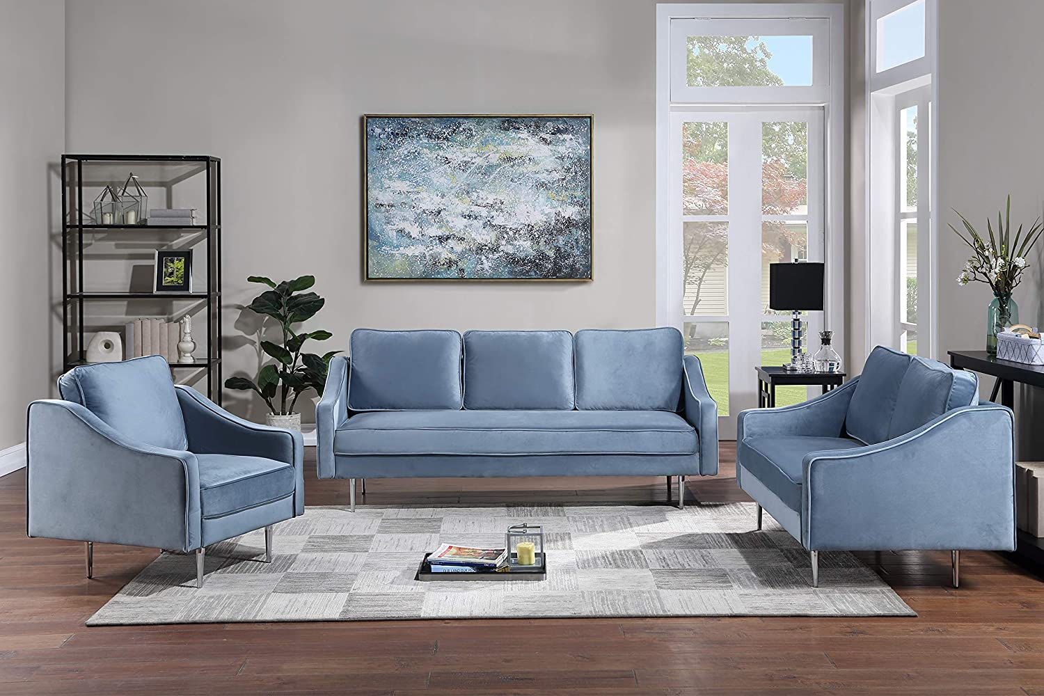 GAOPAN 3 Pieces Living Room Set Include Upholstered Three-Seat Couch, Loveseat and Elegant Curved Armchair,Velvet Fabric Sofa for Home or Office, Blue