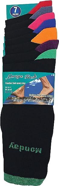 MENS 7 Days Of The Week Designer Cotton Fashion Fun Novelty Socks Shoe Size 6-11