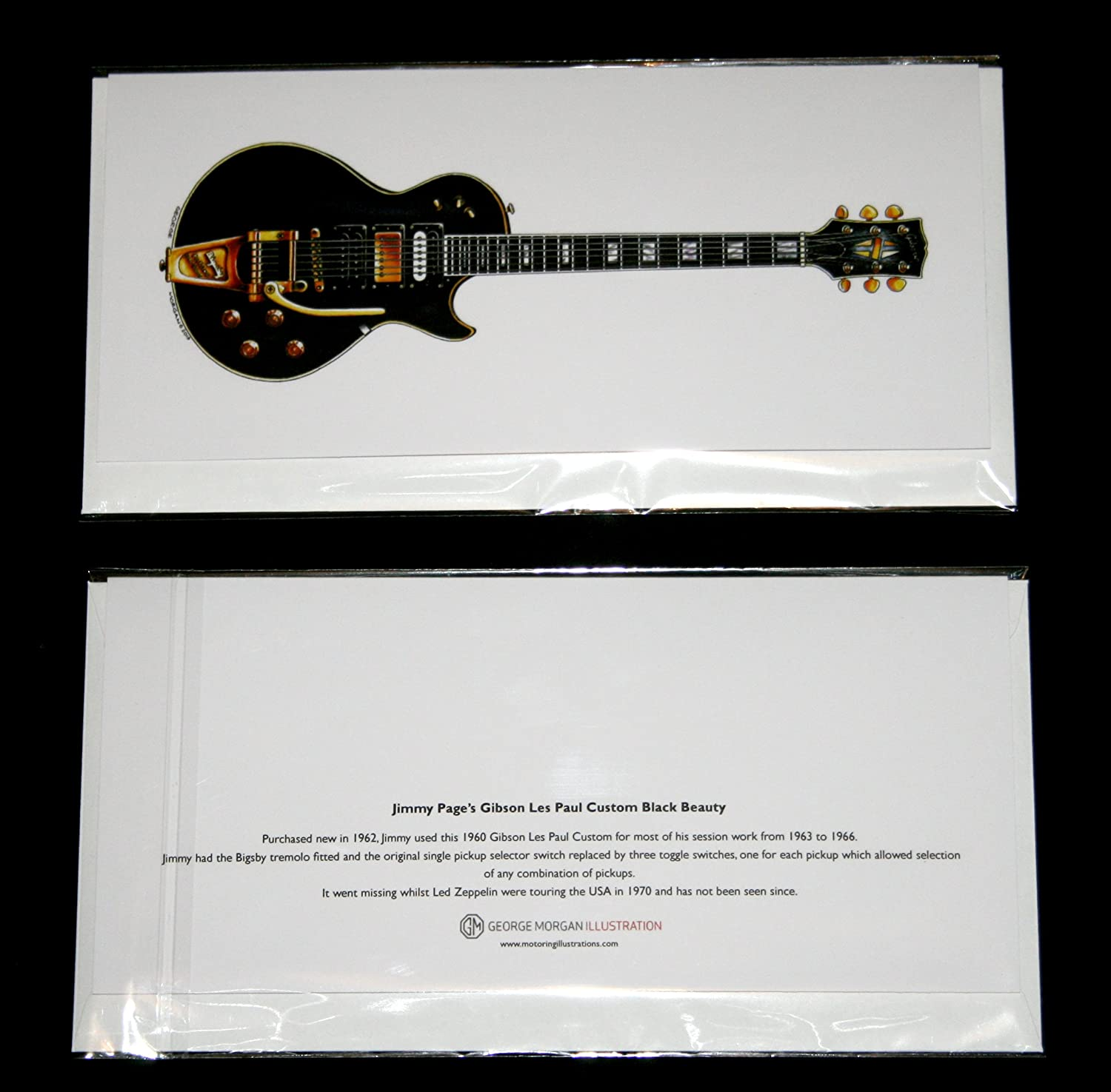 DL size Jimmy Page/'s 1960 Gibson Les Paul Custom Black Beauty Greeting Card