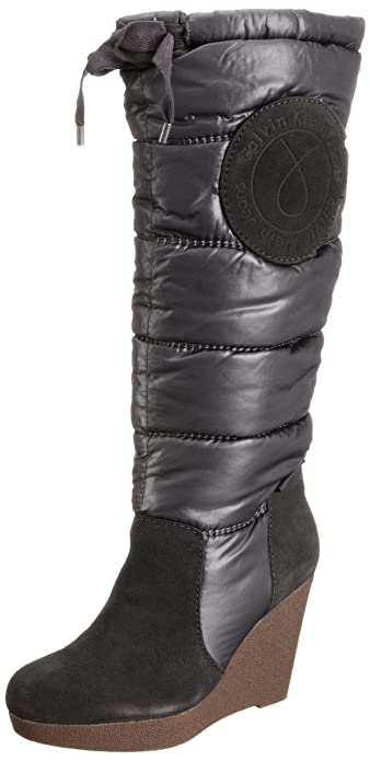 2c5780931d Calvin Klein Jeans Sophie Suede/Nylon Womens Knee high Boots Dark Green 7  UK,