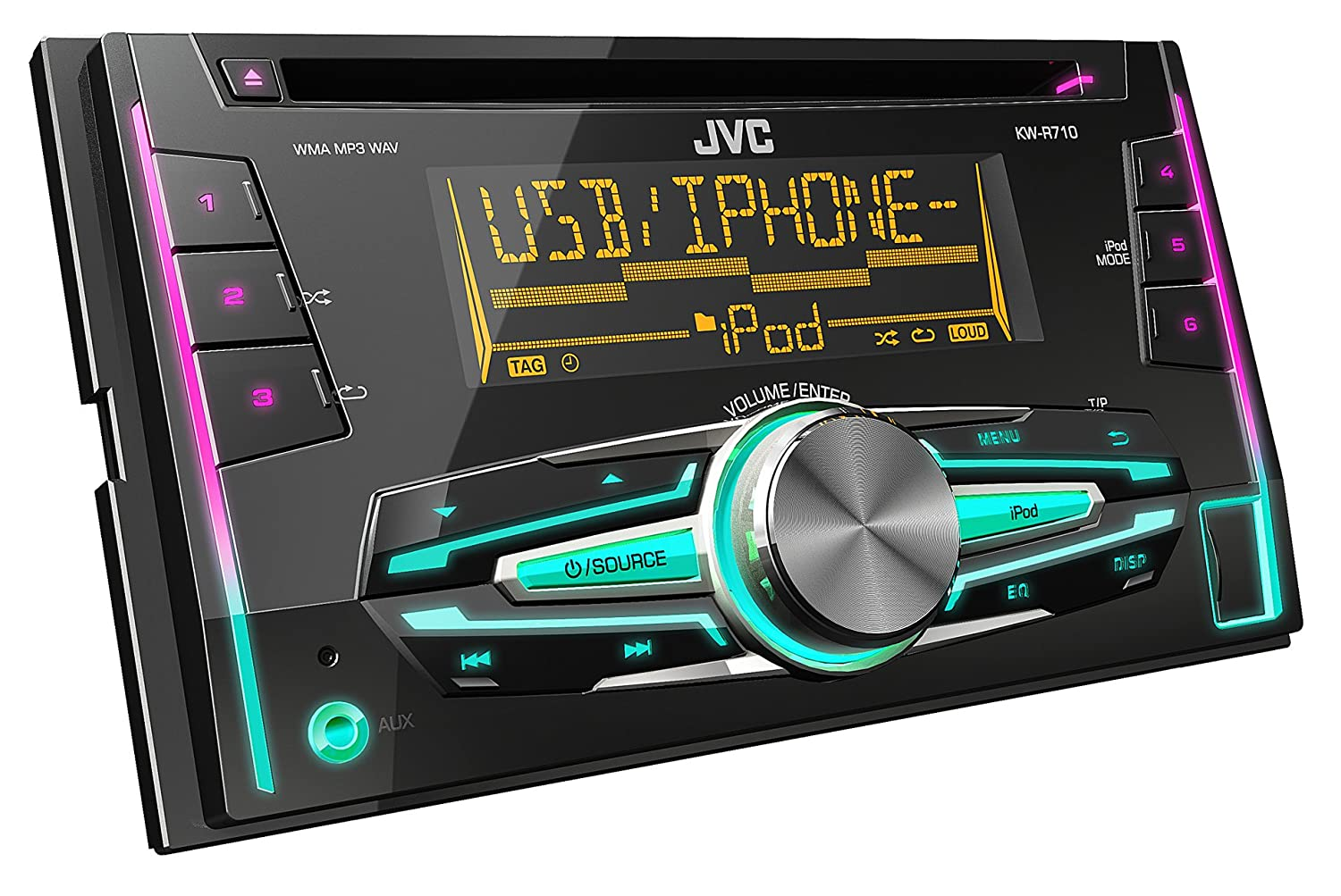 Jvc Kw R710 Double Din Car Stereo With Front Usb Aux Input Amazon